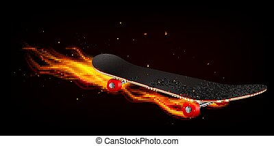 Skateboard On Fire Realistic Background
