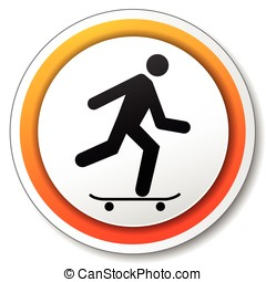 skateboard orange icon - illustration of orange and white...