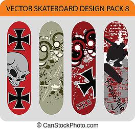skateboard, pacco, disegno, 8