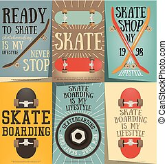 Skateboard Posters Set - Skateboard Wheels and Decks on...