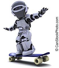 skateboard, robô