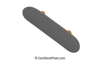 Skateboard rotates on white background