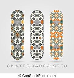 Skateboard set. Girly tracery