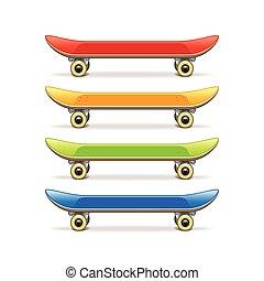 Skateboard set isolated on white vector