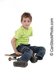 skateboard., sien, gosse, séance