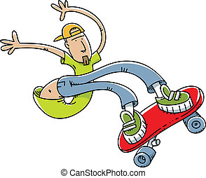 A young cartoon man does stunts on a skateboard.