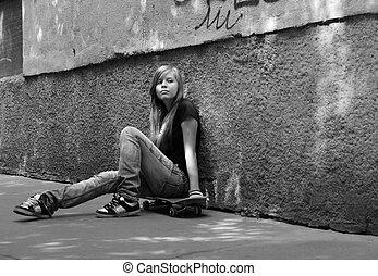 Skateboard - The girl with skateboard