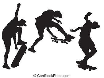 Skateboard - Vector drawing athletes on a skateboard