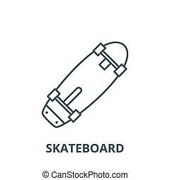 Skateboard vector line icon, linear concept, outline sign, symbol