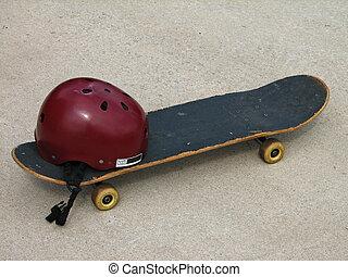 skateboard w/ helmet - used skateboard and helmet