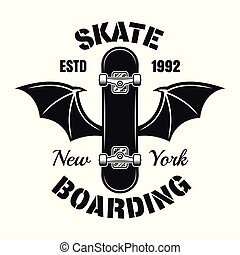 Skateboard with bat wings vector isolated emblem