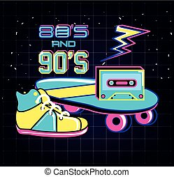 skateboard with icons of eighties and nineties retro