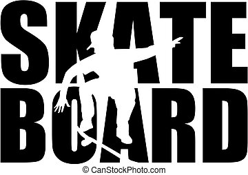 Skateboard word with cutouts