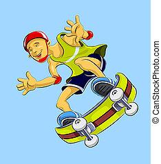 skateboard(122).jpg - extremal guy on skate - vector...