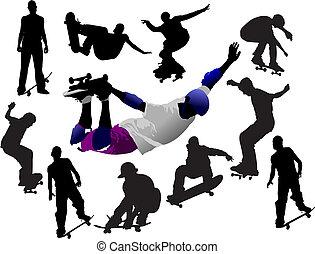 skateboarder, シルエット, 有色人種, イラスト, ベクトル, デザイナー, 跳躍