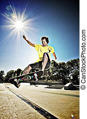 Skateboarder doing a skateboard trick