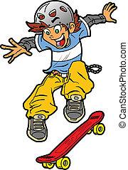 Skateboarder Doing Trick - Cool Fun Skateboarder Doing an...