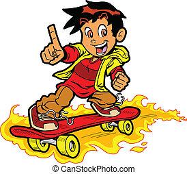 skateboarder, feu
