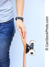 skateboarder lean on wall