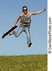 Skateboarder leaping in the air