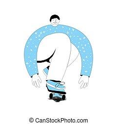 Skateboarder on a white background