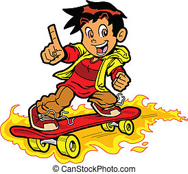 Skateboarder On Fire - Cool Skateboarding Boy On Fire Giving...