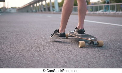 Skateboarder Riding in City