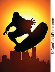 Skateboarder - Silhouette illustration of a skateboarder