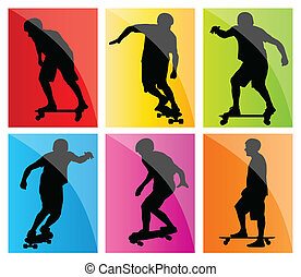 Skateboarder silhouette set vector background for poster