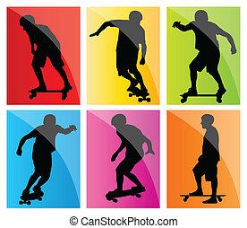 skateboarder, silhouette, set, vettore, fondo