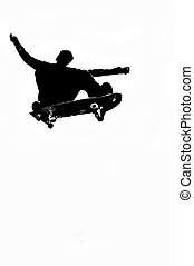 skateboarder silhouette - skateboarder in action at the...