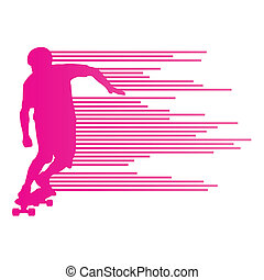Skateboarder silhouette vector background concept made of...