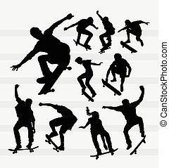 skateboarder, silhouette