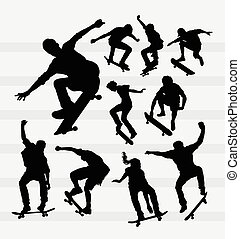 Skateboarder silhouettes