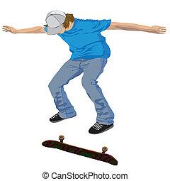 skateboarder jump over skateboard isolated on white