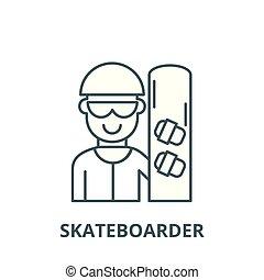 Skateboarder vector line icon, linear concept, outline sign, symbol