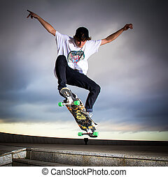 Skateboarder - Young skater training on the table