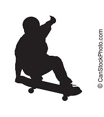 Skateboarder_2 - An abstract vector illustration of a...
