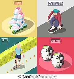 skateboarders, concetto, disegno, rullo, 2x2