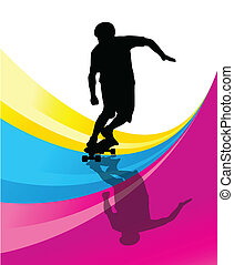 Skateboarders detailed silhouettes vector background concept...