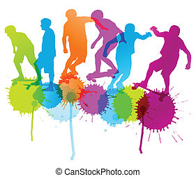Skateboarders detailed silhouettes vector background concept with ink splashes for poster