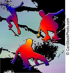 Skateboarders Edge - Three skateboarders cutting it up...