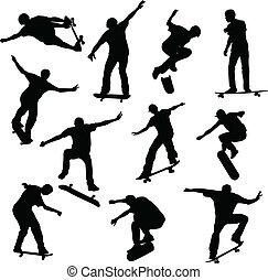 Skateboarders silhouettes - vector illustration