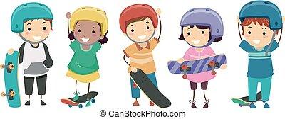 skateboarders, stickman, illustrazione, bambini