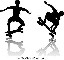 Skateboarders - Silhouettes of skateboarders