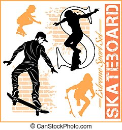 Skateboarders - vector set of extreme sport - Skateboarders...
