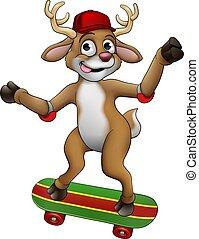 skateboarding, クリスマス, トナカイ, 漫画