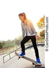skateboarding, 女