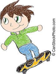 skateboarding, 子供