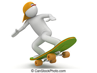 Skateboarding - 3d characters isolated on white background...